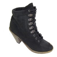 View Item BLACK EX-DESIGNER LEATHER LACE-UP ANKLE BOOTS SIZE 3-8